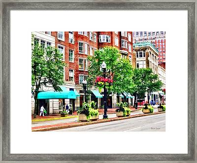 Boston Ma - Shops Along Boyleston Street Framed Print by Susan Savad