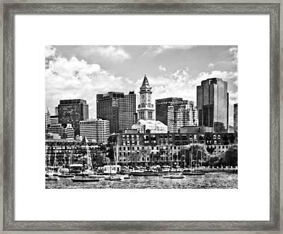 Boston Ma - Skyline With Custom House Tower Black And White Framed Print by Susan Savad