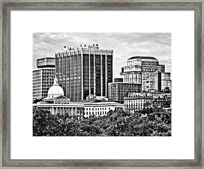 Boston Ma - Skyline With Massachusetts State House Black And White Framed Print by Susan Savad