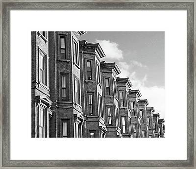 Boston Ma South End Brownstones Black And White Framed Print by Toby McGuire