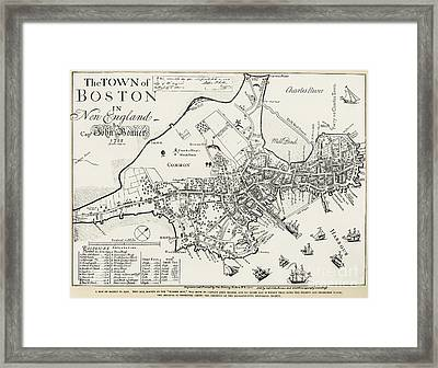 Boston Map, 1722 Framed Print