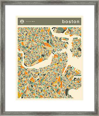 Boston Map 2 Framed Print