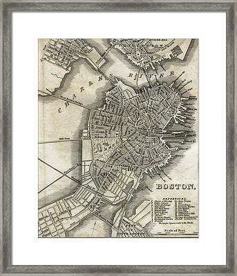 Boston Map Of 1842 Framed Print by George Pedro