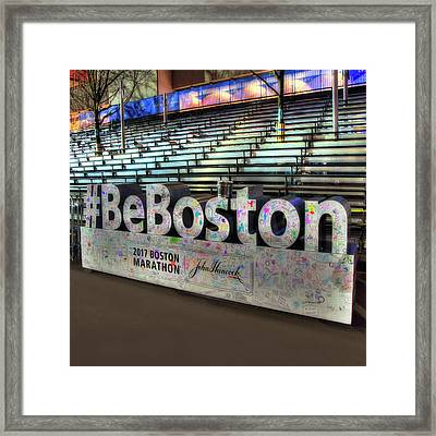 Framed Print featuring the photograph Boston Marathon Sign by Joann Vitali