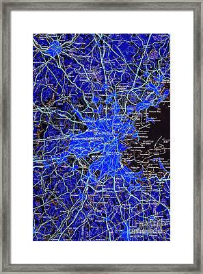 Boston Massachusetts 1948 Blue Map Framed Print