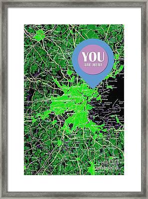 Boston Massachusetts 1948 Green Map You Are Here Framed Print