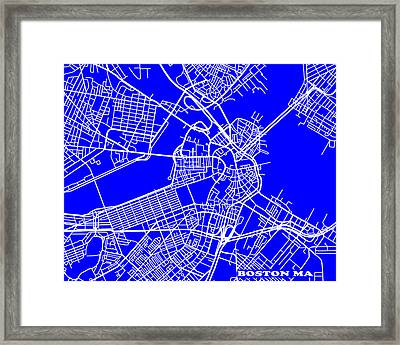 Boston Massachusetts City Map Streets Art Print   Framed Print