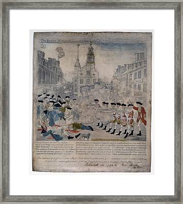Boston Massacre.  British Troops Shoot Framed Print by Everett