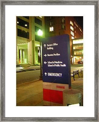 Boston Medical At Night Framed Print by Heather Weikel