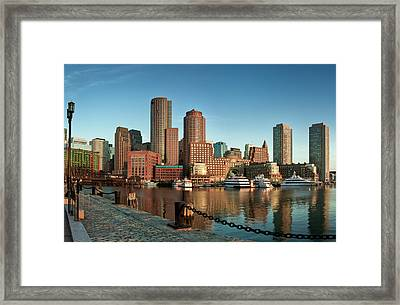 Boston Morning Skyline Framed Print by Sebastian Schlueter (sibbiblue)