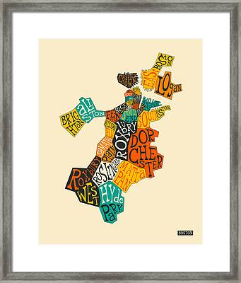 Boston Neighborhoods Map Typography Framed Print
