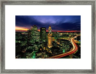 Boston Night Aerial With Time Exposure Framed Print by Joel Sartore