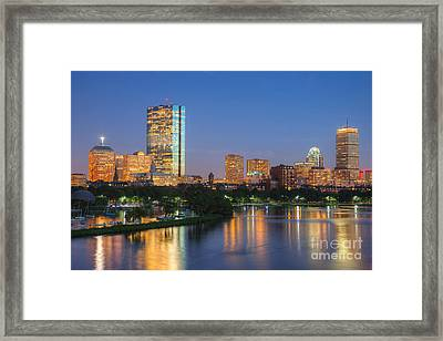 Boston Night Skyline II Framed Print by Clarence Holmes