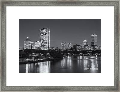 Boston Night Skyline V Framed Print