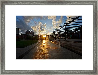 Boston North End Park Fountains Sunset Framed Print