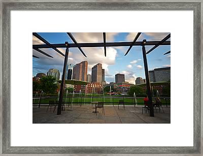 Boston North End Park Fountains Framed Print