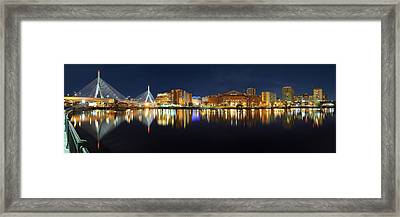 Boston Pano From Bridge To Bridge Framed Print