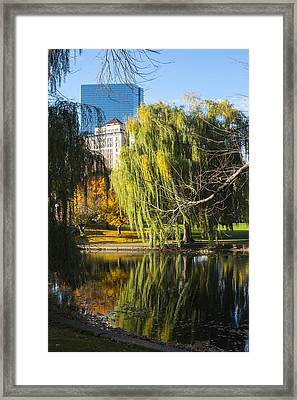 Boston Public Garden Autumn Hancock Skyline Framed Print