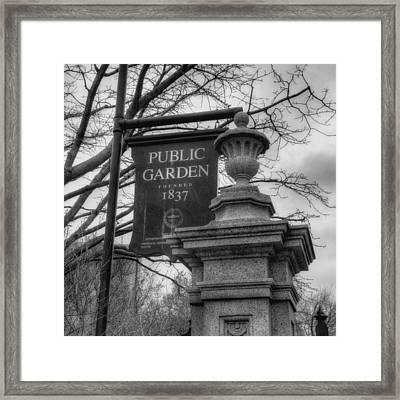 Boston Public Garden - Black And White Square Framed Print