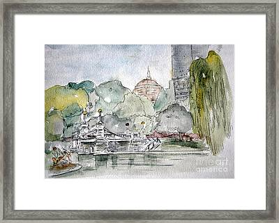 Boston Public Gardens Bridge Framed Print