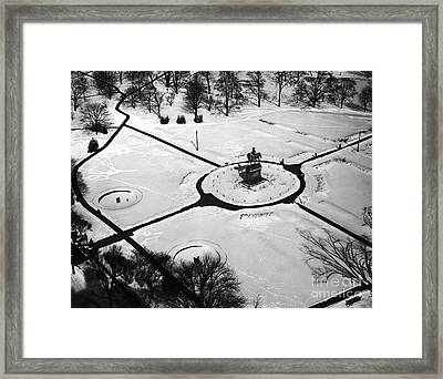 Boston Public Gardens In Winter Framed Print