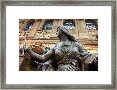 Framed Print featuring the photograph Boston Public Library Lady Sculpture by Joann Vitali