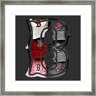 Boston Red Sox B Logo Framed Print by Joann Vitali