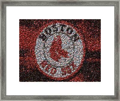 Boston Red Sox Bottle Cap Mosaic Framed Print by Paul Van Scott