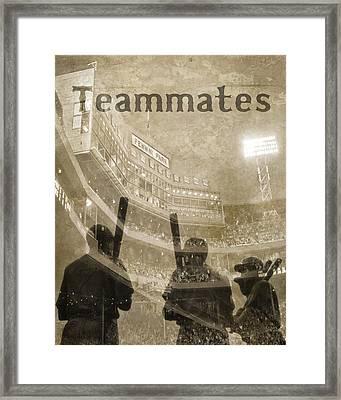 Vintage Boston Red Sox Fenway Park Teammates Statue Framed Print by Joann Vitali