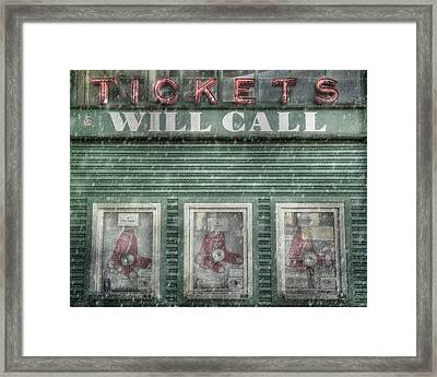 Framed Print featuring the photograph Boston Red Sox Fenway Park Ticket Booth In Winter by Joann Vitali