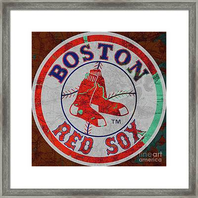Boston Red Sox Logo On Old Boston Map Framed Print by Pablo Franchi