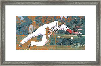 Boston Red Sox Player On Boston Harbor Map Framed Print by Pablo Franchi