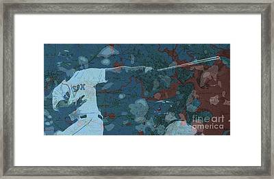 Boston Red Sox Player On Boston Harbor Map, Vintage Blue Framed Print by Pablo Franchi