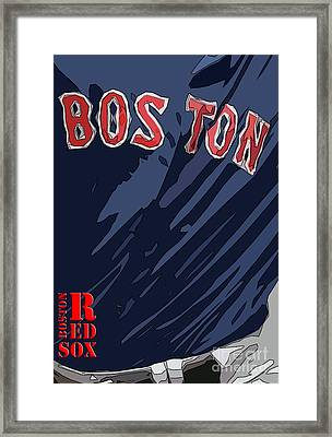 Boston Red Sox Typography Blue Framed Print