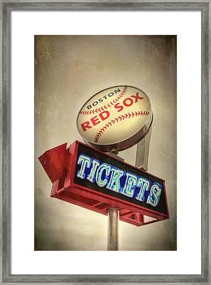 Boston Red Sox Vintage Baseball Sign Framed Print by Joann Vitali