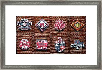 Boston Red Sox World Series Emblems Framed Print by Diane Diederich