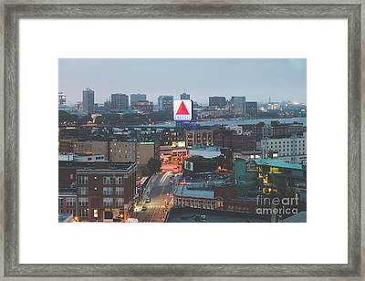 Boston Skyline Aerial Citgo Sign Photo Framed Print