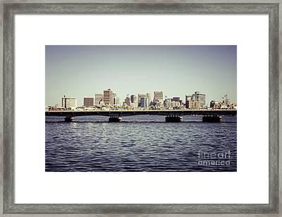 Boston Skyline And Back Bay Harvard Bridge Retro Photo Framed Print