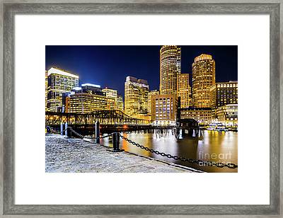 Boston Skyline And Boston Harbor At Night Photo Framed Print