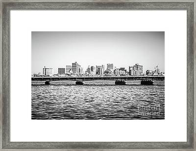 Boston Skyline And Harvard Bridge Black And White Photo Framed Print