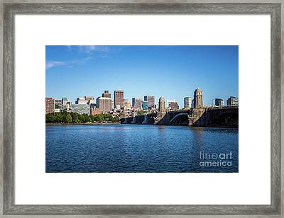Boston Skyline And Longfellow Bridge Photo Framed Print by Paul Velgos
