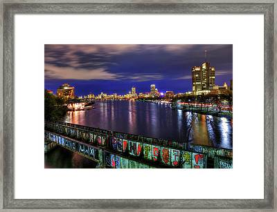 Boston Skyline And The Boston University Bridge Framed Print