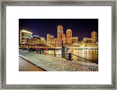 Boston Skyline At Night And Harborwalk Picture Framed Print