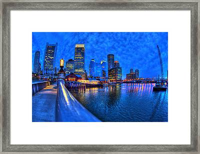 Boston Skyline At Night And Tea Party Museum In Fort Point Channel Framed Print