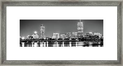 Boston Skyline At Night Black And White Panorama Picture Framed Print