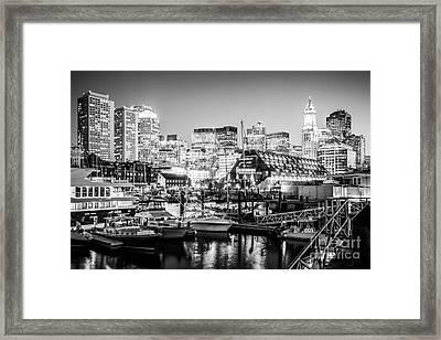 Boston Skyline At Night Black And White Photo Framed Print