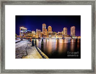 Boston Skyline At Night Picture Framed Print