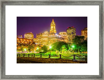 Boston Skyline At Night With Christopher Columbus Park Framed Print
