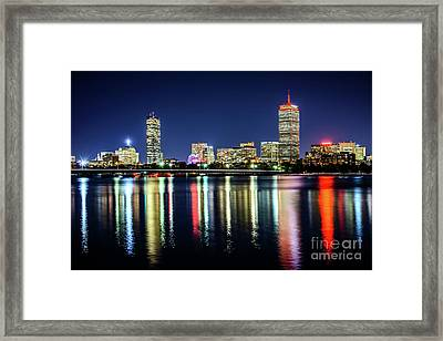 Boston Skyline At Night With Harvard Bridge Framed Print
