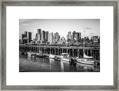 Boston Skyline At Piers Park Black And White Photo Framed Print